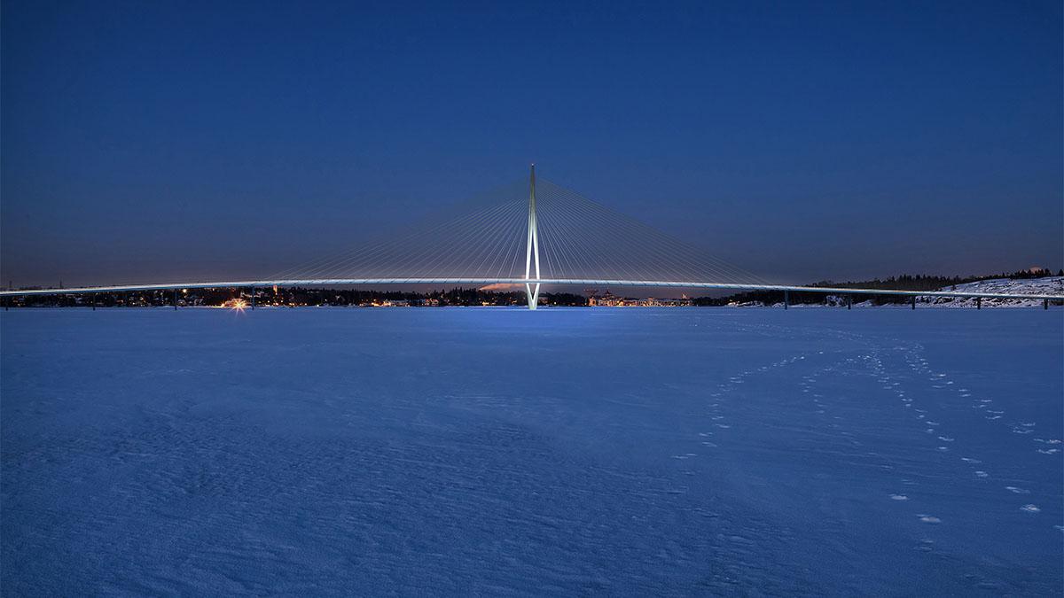 Havainnekuva. Talvimaisema, jossa valaistu silta lumipeitteisen jään ylitse.
