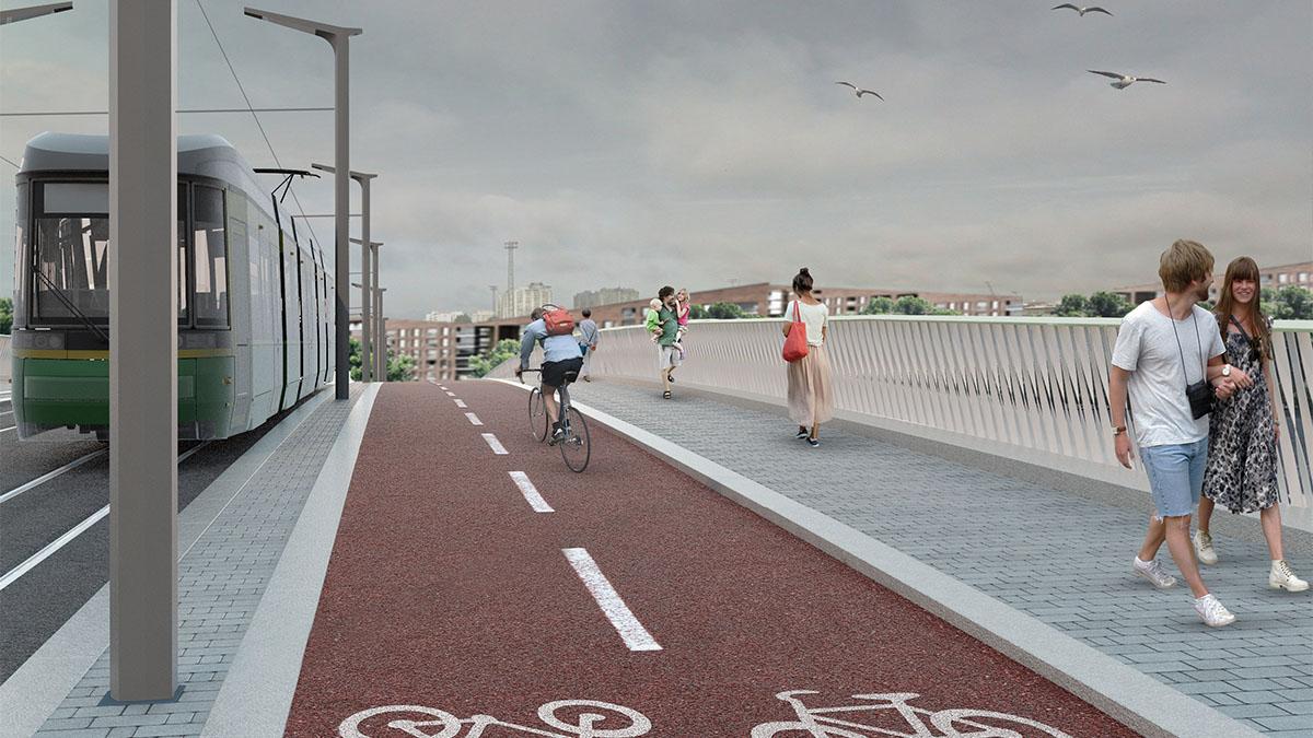 Havainnekuva, jossa ratikka, pyöräilijä ja jalankulkijoita sillalla.