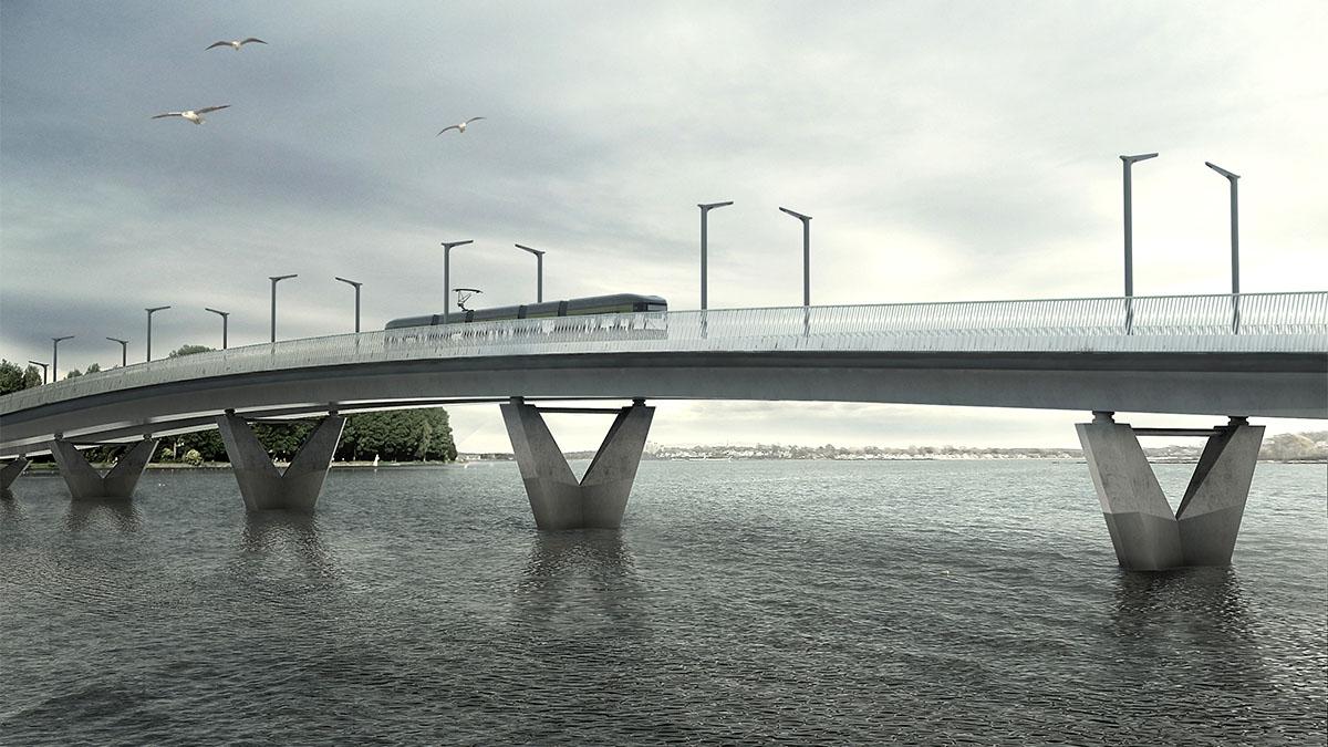 Havainnekuva, jossa sillalla kulkee ratikka.