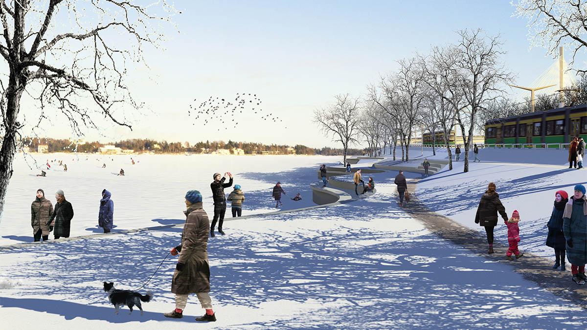Havainnekuva, jossa ihmisiä talvella rannalla ja jäällä.