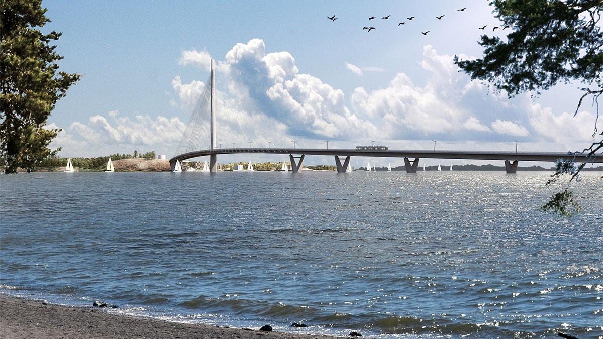 Kesäinen havainnekuva. Sillan ali kulkee purjeveneiden jono.