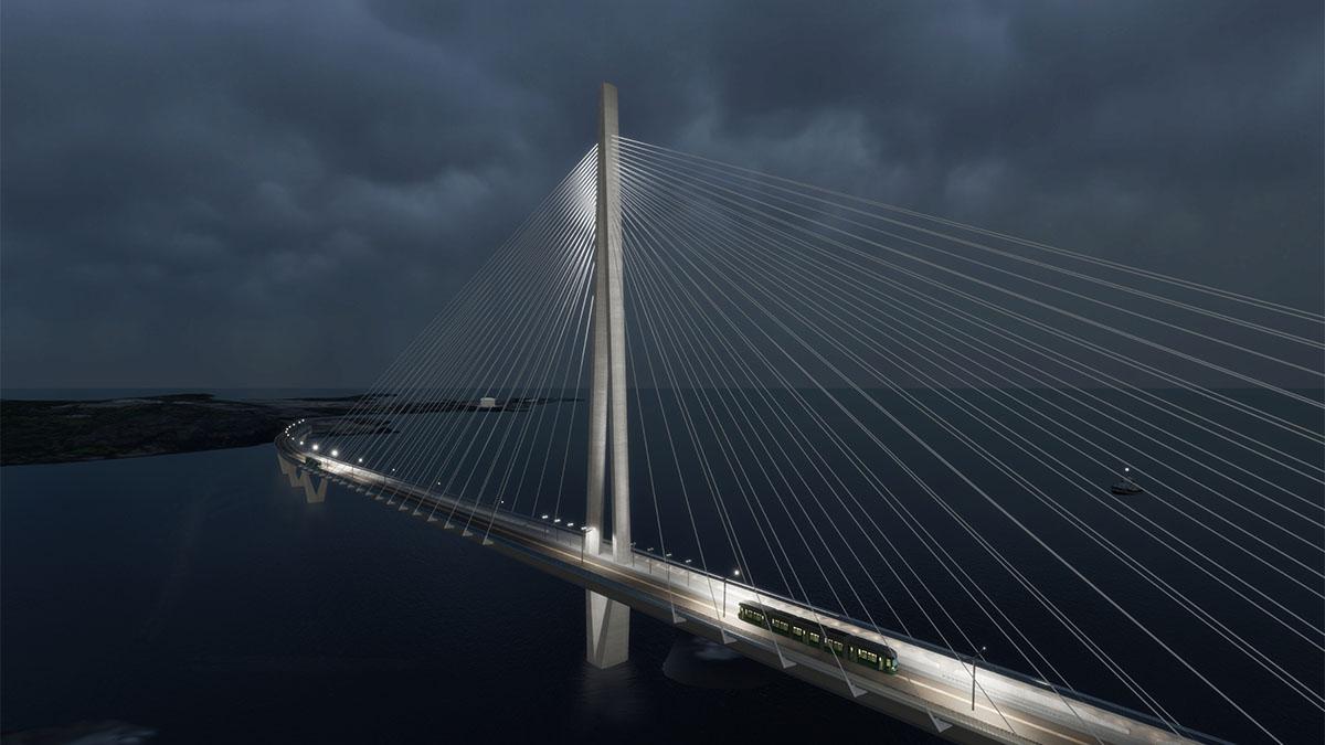Havainnekuva, jossa valaistu silta ja taustalla pimeä merimaisema.