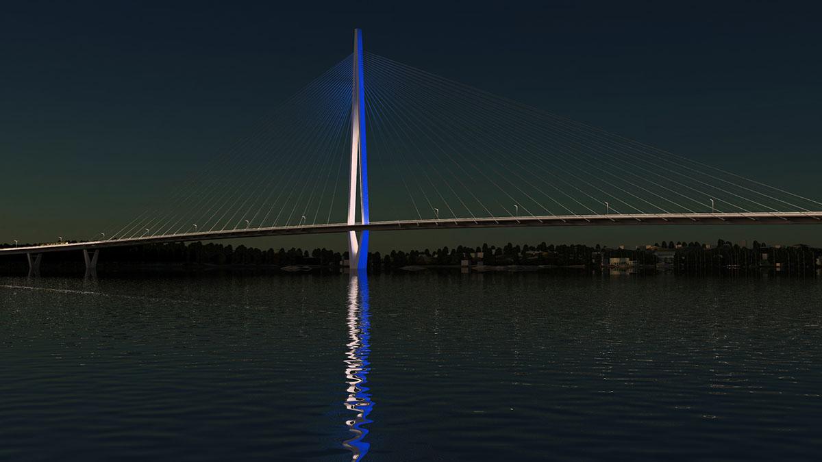 Havainnekuva, jossa sillan pyloni on valaistu valkealla ja sinisellä värillä.